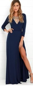 GARDEN DISTRICT NAVY BLUE WRAP MAXI DRESS